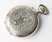 Antique Swiss silver pocket watch HELIOS Remontoir Cylindre FREE shipping