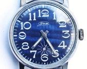 Vintage soviet Russian mens wristwatch Zim Pobeda mens wriswatch cobalt blue watch
