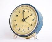 Blue clock from Russia, vintage mechanical clock Vitjaz, blue color