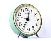Vintage alarm clock Jantar from Soviet Union era green mint color clock green clock