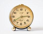 RARE Soviet Russian alarm clock Mir metal color clock, clock with bird Mir Peace from Russia Soviet Union