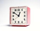 Vintage Russian mechanical alarm clock Slava from Soviet Union period  red alarm clock