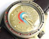 Vintage Russian mens wristwatch gold color watch army watch