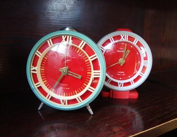 Vintage Russian mechanical alarm clock Jantar from Soviet Union