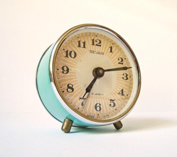Vintage mechanical alarm clock Sevani from Armenia Soviet Union USSR turquoise color