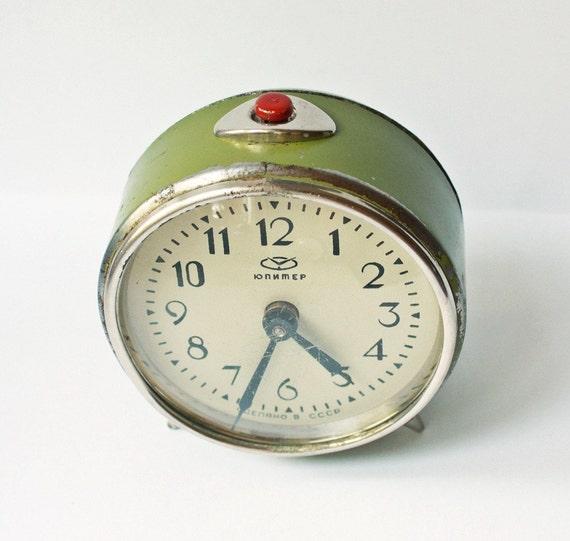 Vintage mechanical alarm clock Jupiter from Russia Soviet Union