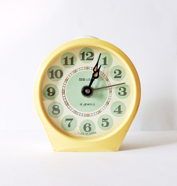 Vintage mechanical alarm clock Sevani from Armenia Soviet Union USSR