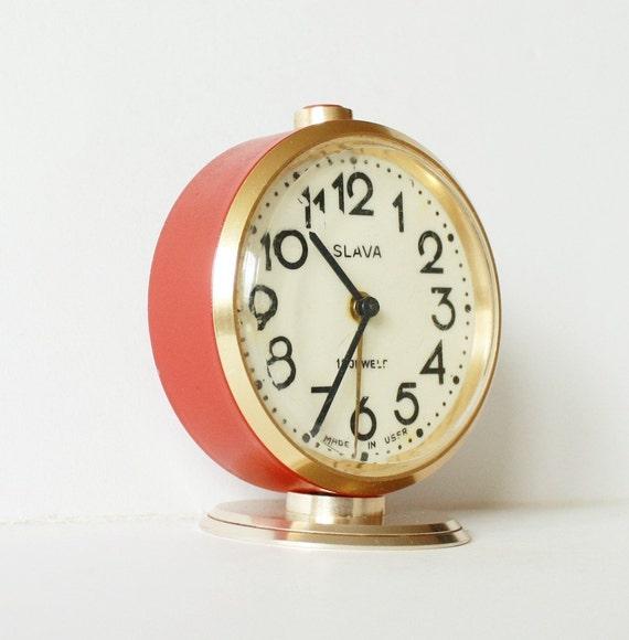Vintage Russian mechanical alarm clock Slava from Soviet Union period