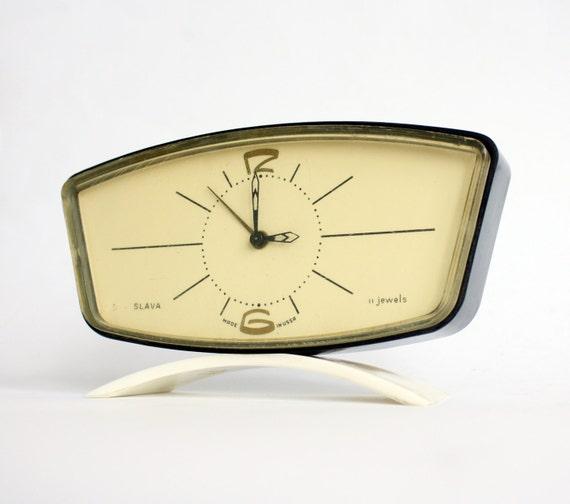 RARE Vintage Russian mechanical alarm clock Slava from Soviet Union period soviet design alarm clock