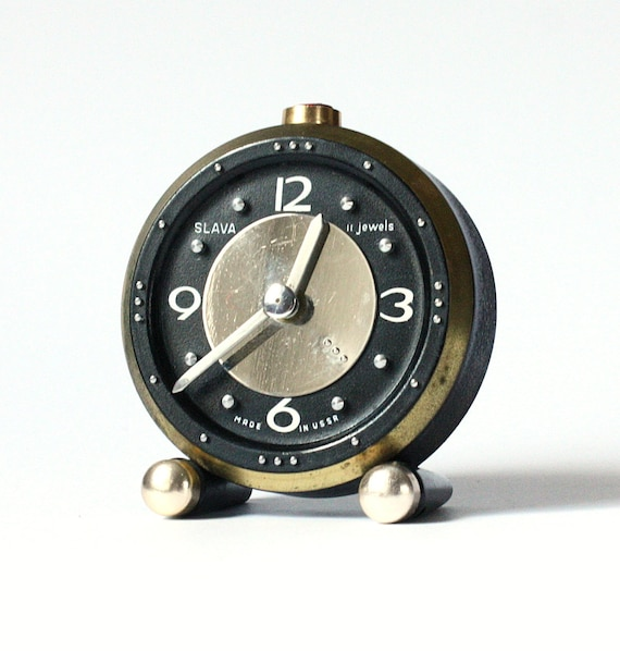 RARE vintage Russian mechanical alarm clock Slava from Soviet Union period Blind design