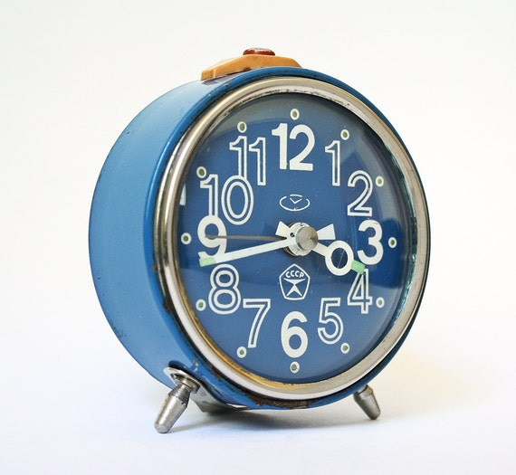 Blue clock from Russia, vintage mechanical clock Vitjaz, blue color