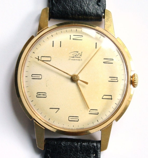 RARE Vintage gender unisex watch Zarja from Russia Soviet Union Gold plated gold covered  ladies or mens watch