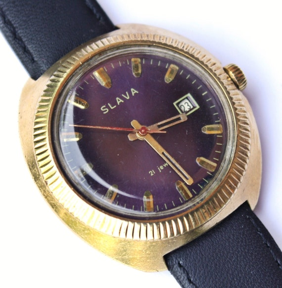 Vintage Russian Mechanical watch Slava from Soviet Union era mens wrist watch mens watch gold covered watch purple violet watch