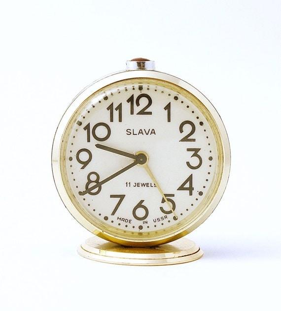 Vintage Russian mechanical alarm clock Slava from Soviet Union period green clock