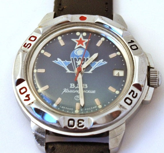 Vintage Russian mens wristwatch blu color watch army watch