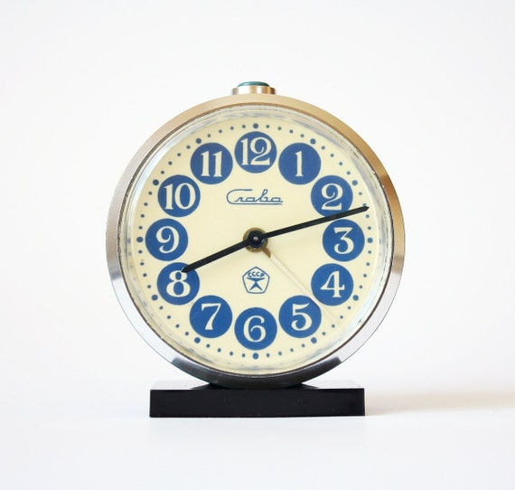 Vintage Russian mechanical alarm clock Slava from Soviet Union period blue alarm clock