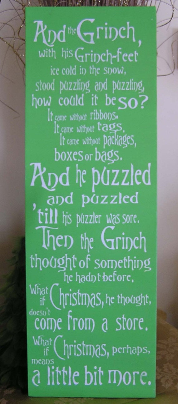 Items similar to grinch sign the grinch christmas decor for Christmas decoration quotes