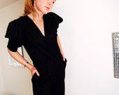 SALE- Vintage 80s Ruffle-Sleeved Jumpsuit