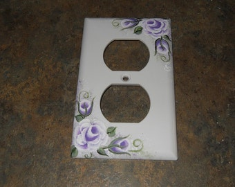Cottage Chic Lavender Victorian Rose Hand Painted New Outlet Cover
