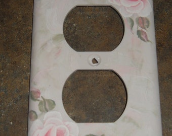 Shabby Cottage Chic Hand Painted Pale Pink  Rose Electrical Outlet Cover