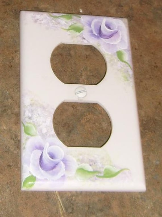 Lavender Rose Hand Painted Electric Outlet Cover