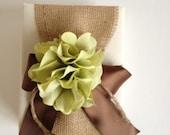 Burlap Wedding Album -  Rustic Green Hydrangeas - Chocolate Brown Ribbon Bow - Free Shipping