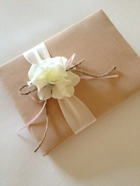 RESERVED Wedding Guest Book - Rustic White Hydrangeas - Tea Dyed Muslin and Cream/Ivory Ribbon With Pink - Handmade - Free Shipping