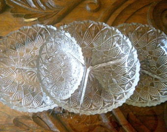 Vintage 3 Part Divided Dish, Ornate Cut Cystal Look, Indiana Glass, Use for Crudite, Fondue, Appetizers, Perfect for Thanksgiving