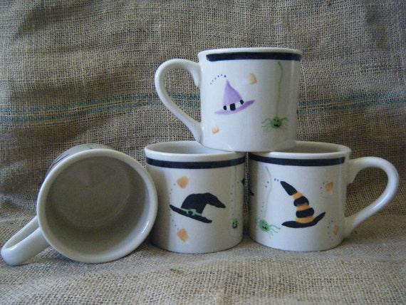 Halloween Hats Set/4 Jumbo Mugs, HARTSTONE, Collectable, FREE SHIPPING