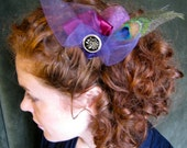 Carynn Lady Clip Vintage Inspired Cranberry, Purple and Peacock Barrette