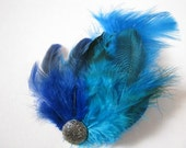 The Blue Lagoon Feather Hair Barette with Vintage Button