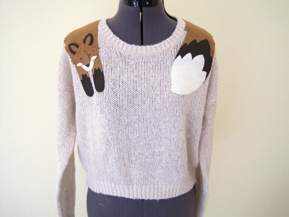 Wrapped Fox Knitted Crop Sweater in Oatmeal