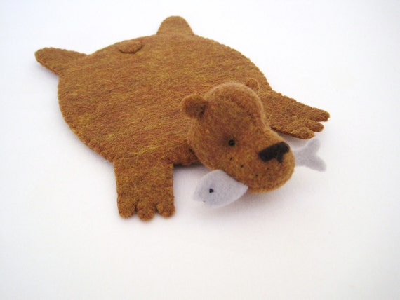Bear Rug Coaster with Fish (copper with blue-gray fish)