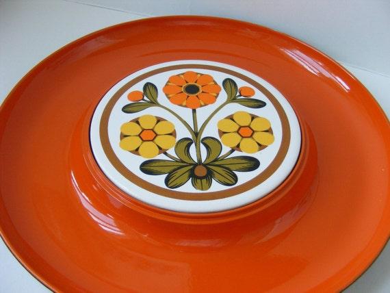 Retro Vintage Cheese and Cracker Tray Flower Power Orange
