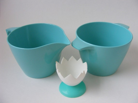 Vintage Melmac Cream and Sugar Set Turquoise