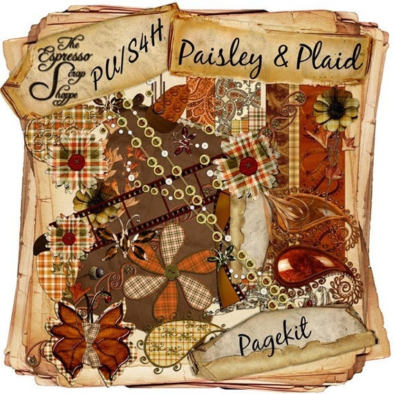 Paisley and Plaid Digital Scrapbooking kit by The Espresso Scrap Shoppe