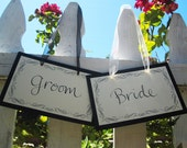 Bride and Groom Chair Signs in Calligraphy with Flourishes