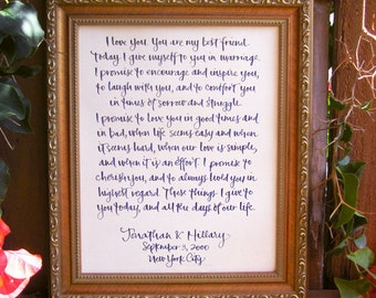 """Handwritten Calligraphy for Wedding Vows, Baby Name, Poem, Quote, Song 8"""" x 10"""""""