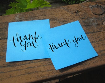 Calligraphy Thank You Stamp  -- rubber stamp with wood handle