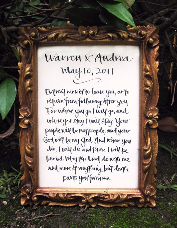 "Handwritten Calligraphy for Wedding Vows, Baby Name, Poem, Quote, Song 5"" x 7"""