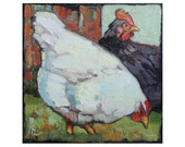 "Black and White Chickens - 10x10"" Limited Edition Print"