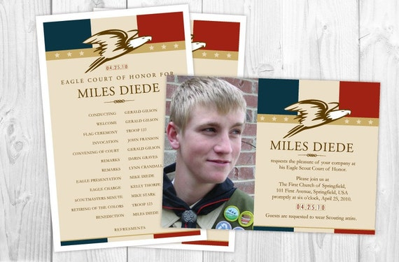 Eagle Scout Court of Honor Matching Photo Card Invitations and – Eagle Scout Invitation Cards