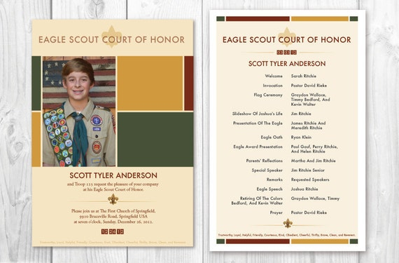 eagle scout court of honor program template - items similar to eagle scout court of honor invitations