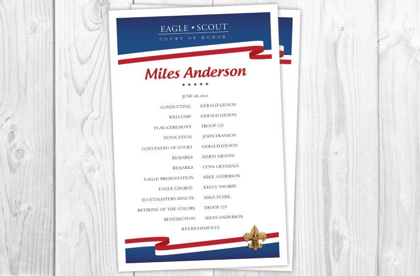 Custom Order Eagle Scout Court of Honor Announcement For Pam