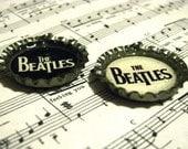 The Beatles Logo Black and White Music Bottle Cap Photo Necklace Charm Pendant 2 Pieces