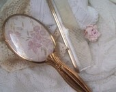 Vanity Brush And Comb Set Vintage Pink Embroidery Mid Century Frou Frou Boudoir