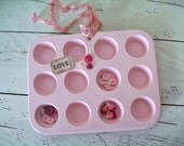 Pink Muffin Tin Repurposed Organization Caddy Valentine Pink Shabby Cottage Chic