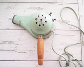 Vintage Blow Dryer Mint  Green Hair Dryer Hand Held Handy Hannah Brand