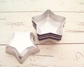 Star Jello Tins Tart Molds Silver Vintage Forth of July Kitchen Decor Metal Star Molds