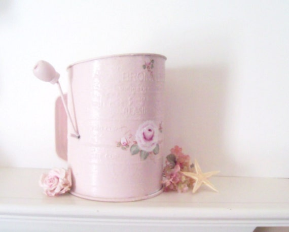 Flour Sifter Pink Vintage Painted Sifter Cottage Chic Shabby Flour Sifter Reclaimed Hand Painted Roses Pink Kitchen  Decor